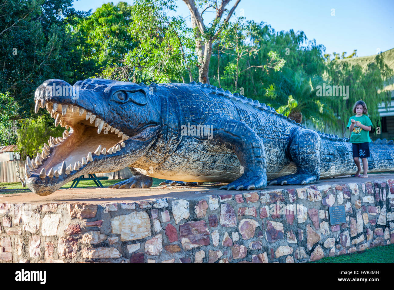 'Krys' The Savannah King, replica of a giant saltwater crocodile at Normanton, Gulf of Carpentaria, Queensland, - Stock Image