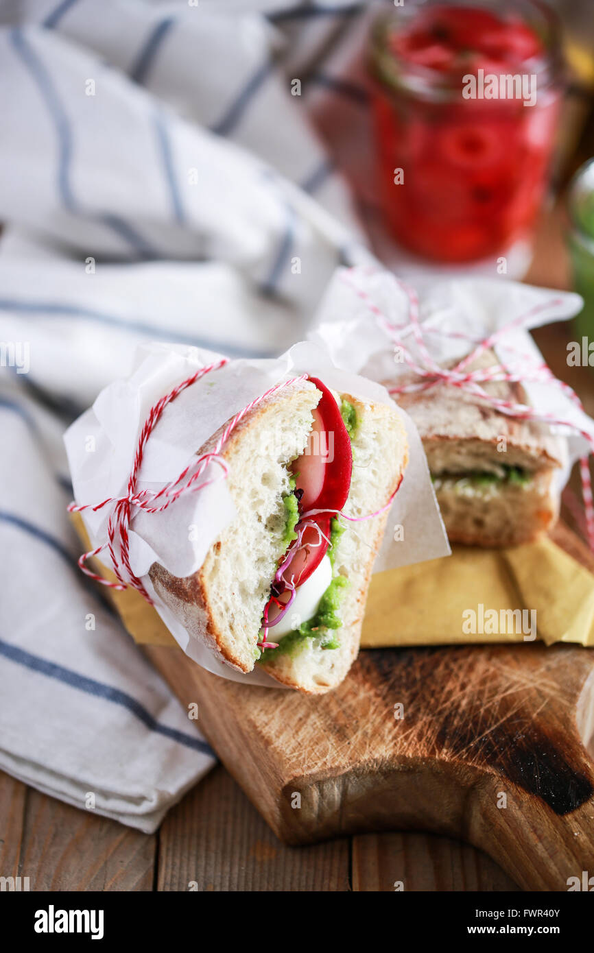 Homemade fresh sandwich - Stock Image