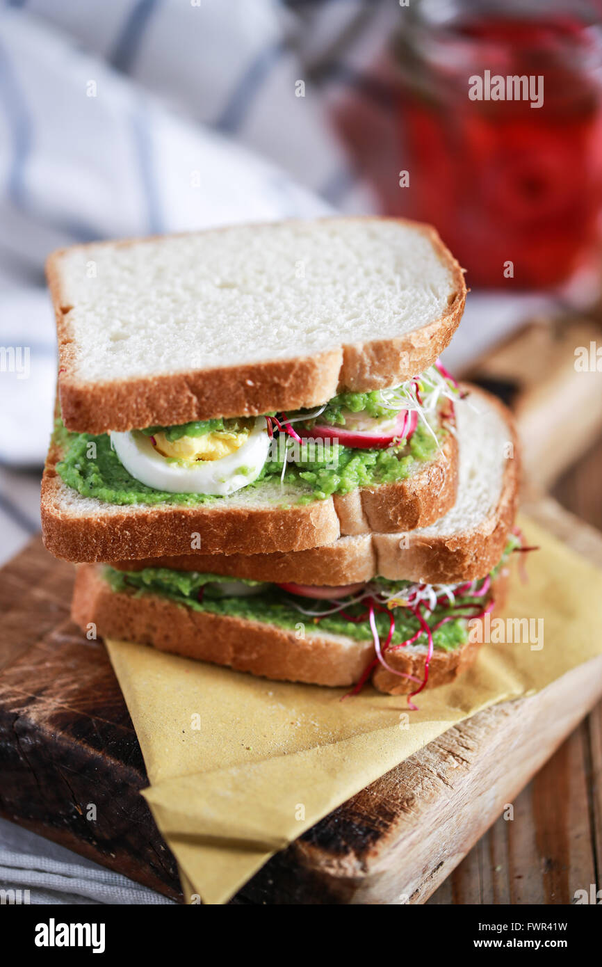 Homemade club sandwich - Stock Image