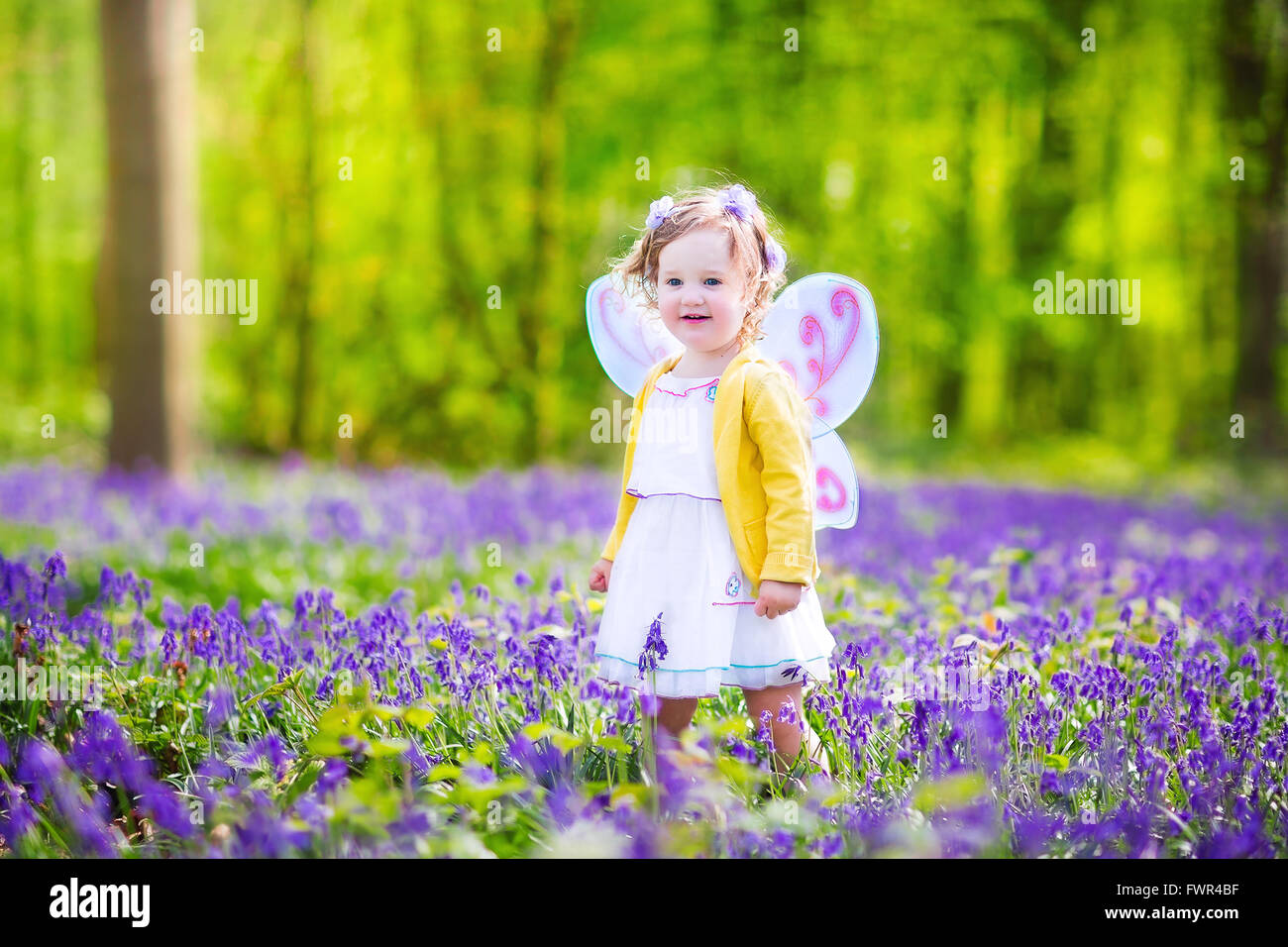 cb191b490 Adorable toddler girl with curly hair wearing a fairy costume with purple  wings and yellow dress is playing in beautiful forest