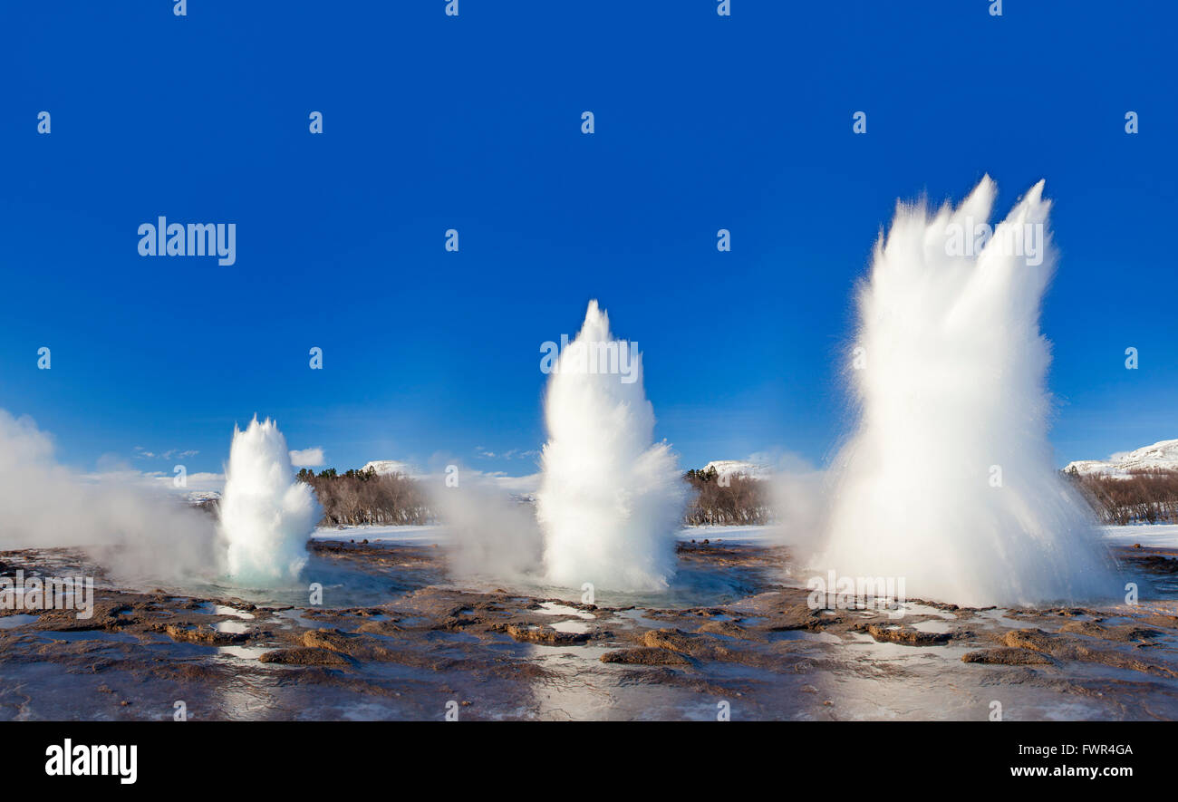 Digital composition showing eruption stages of Strokkur, fountain geyser in the geothermal area beside the Hvítá - Stock Image