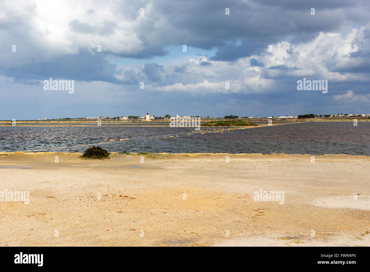 Salt-mine in Trapani, Sicily in south of Italy - Stock Image