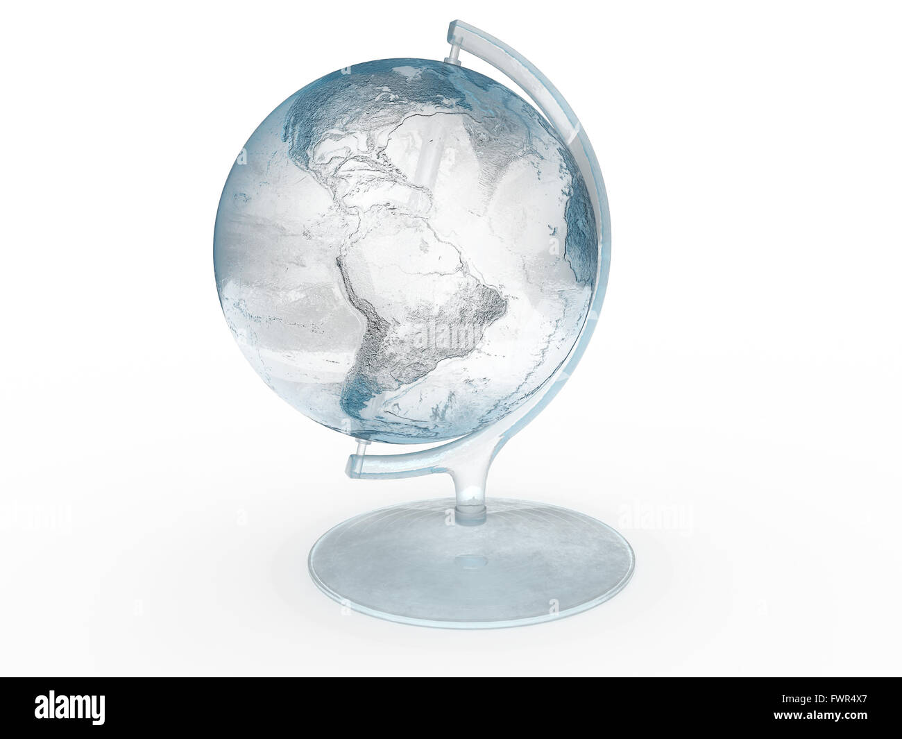 Globe made of ice isolated on a white background.   - Elements of this image furnished by NASA - - Stock Image