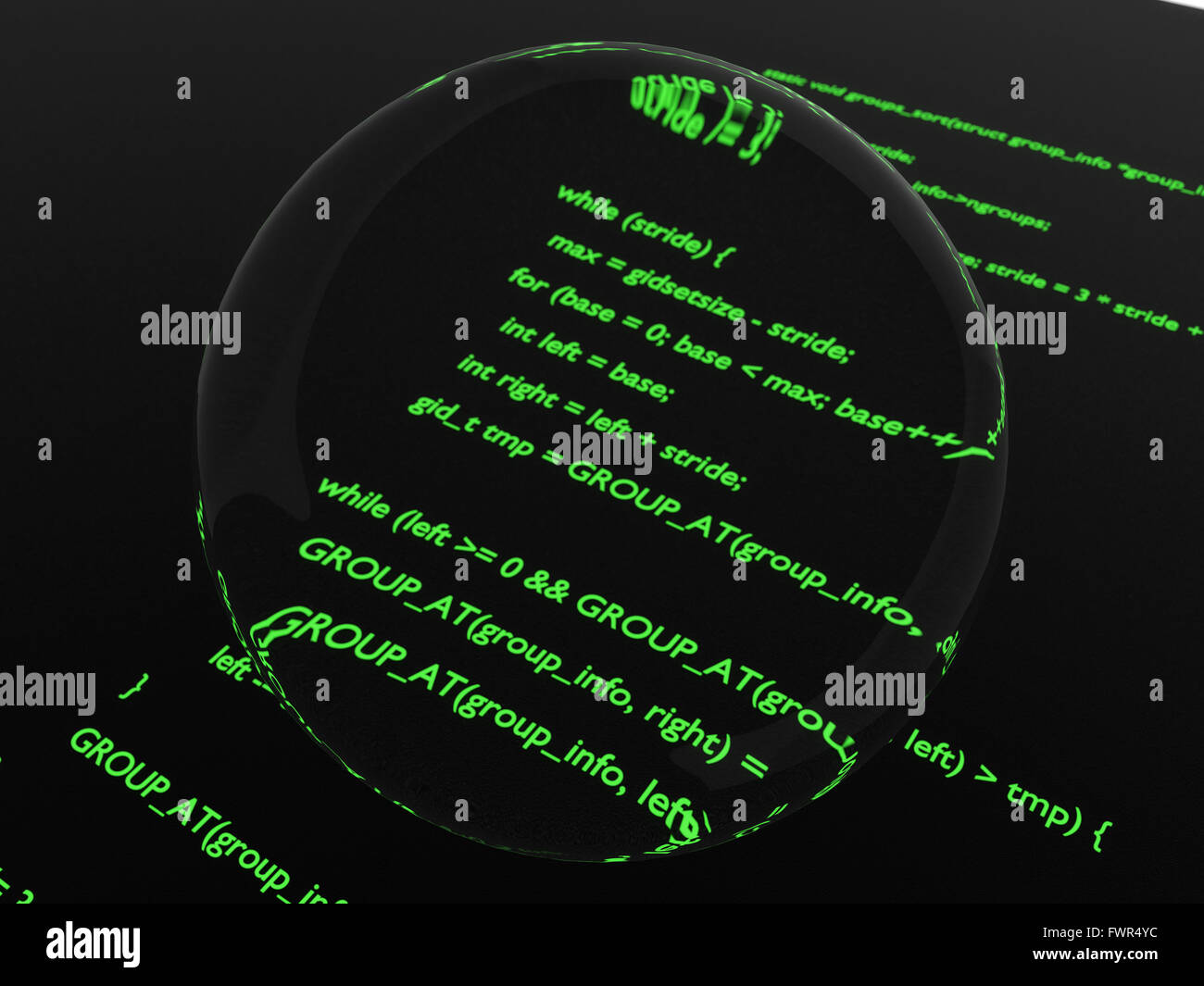 Green glowing computer code magnified in center by glass disk. - Stock Image