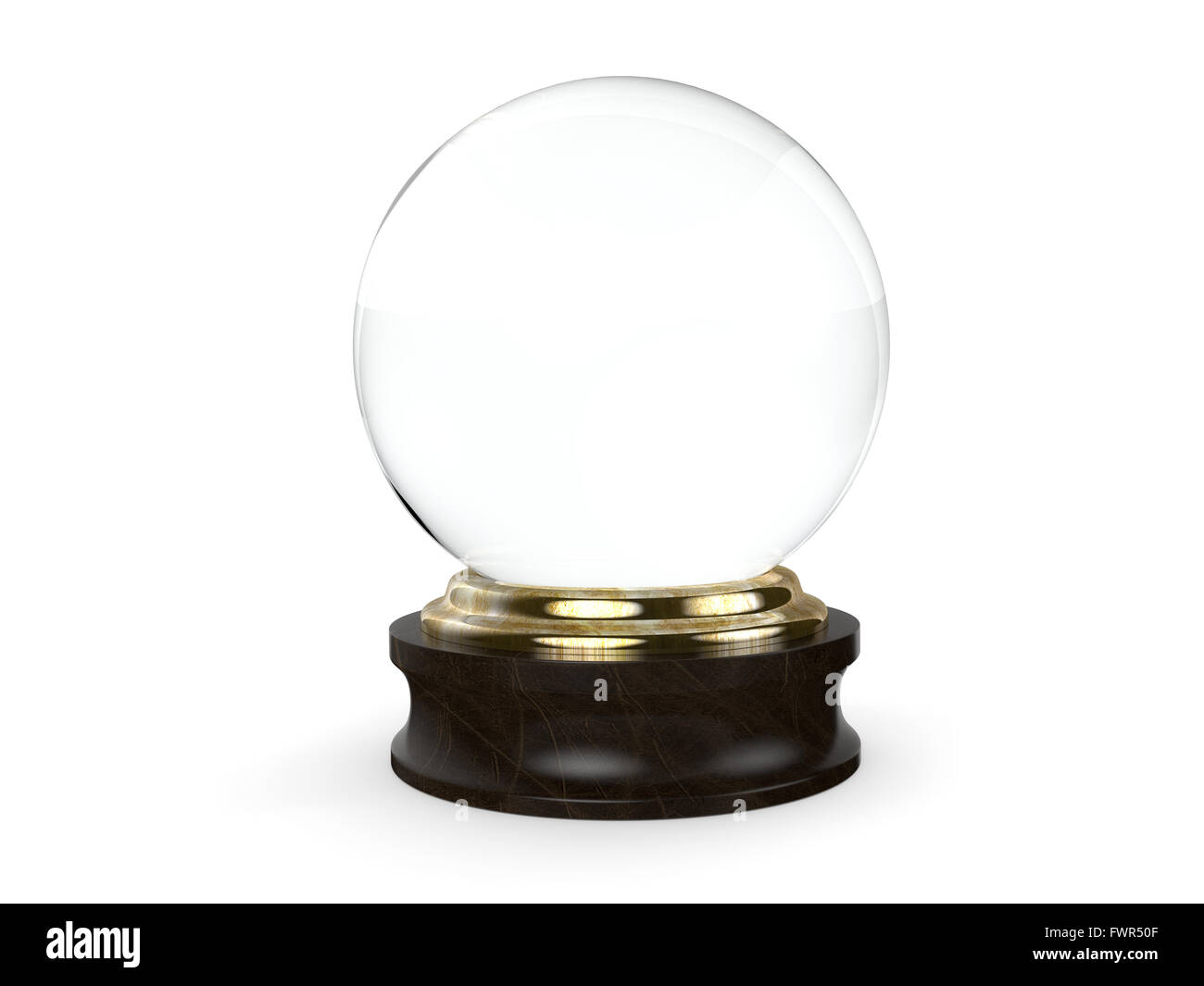 Clear Crystal ball with a wooden base isolated on a white background. - Stock Image
