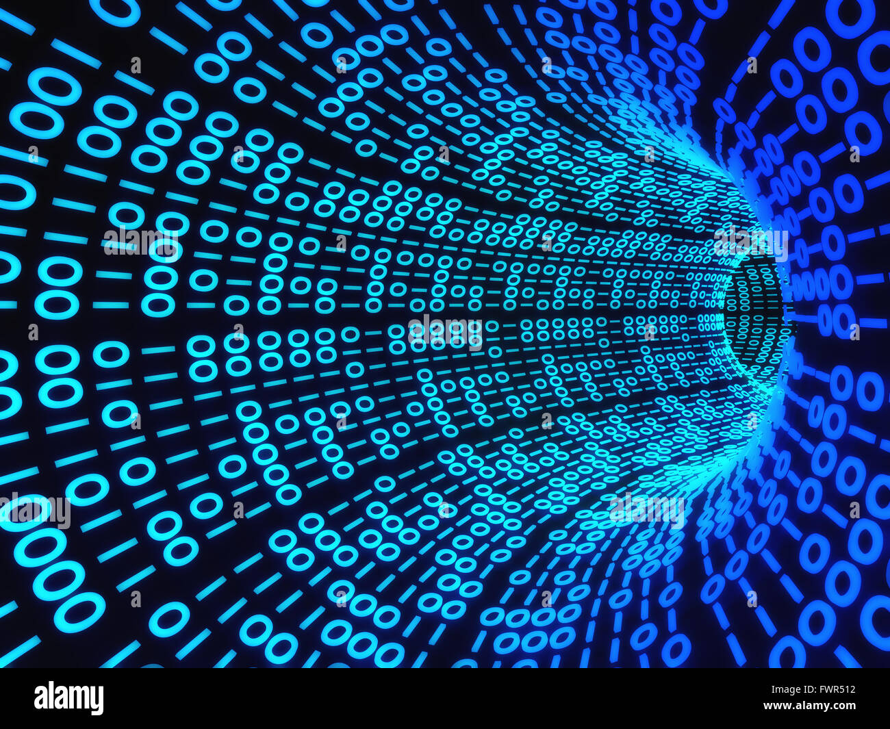 Twisting Tunnel Of Digital Binary Computer Code Stock