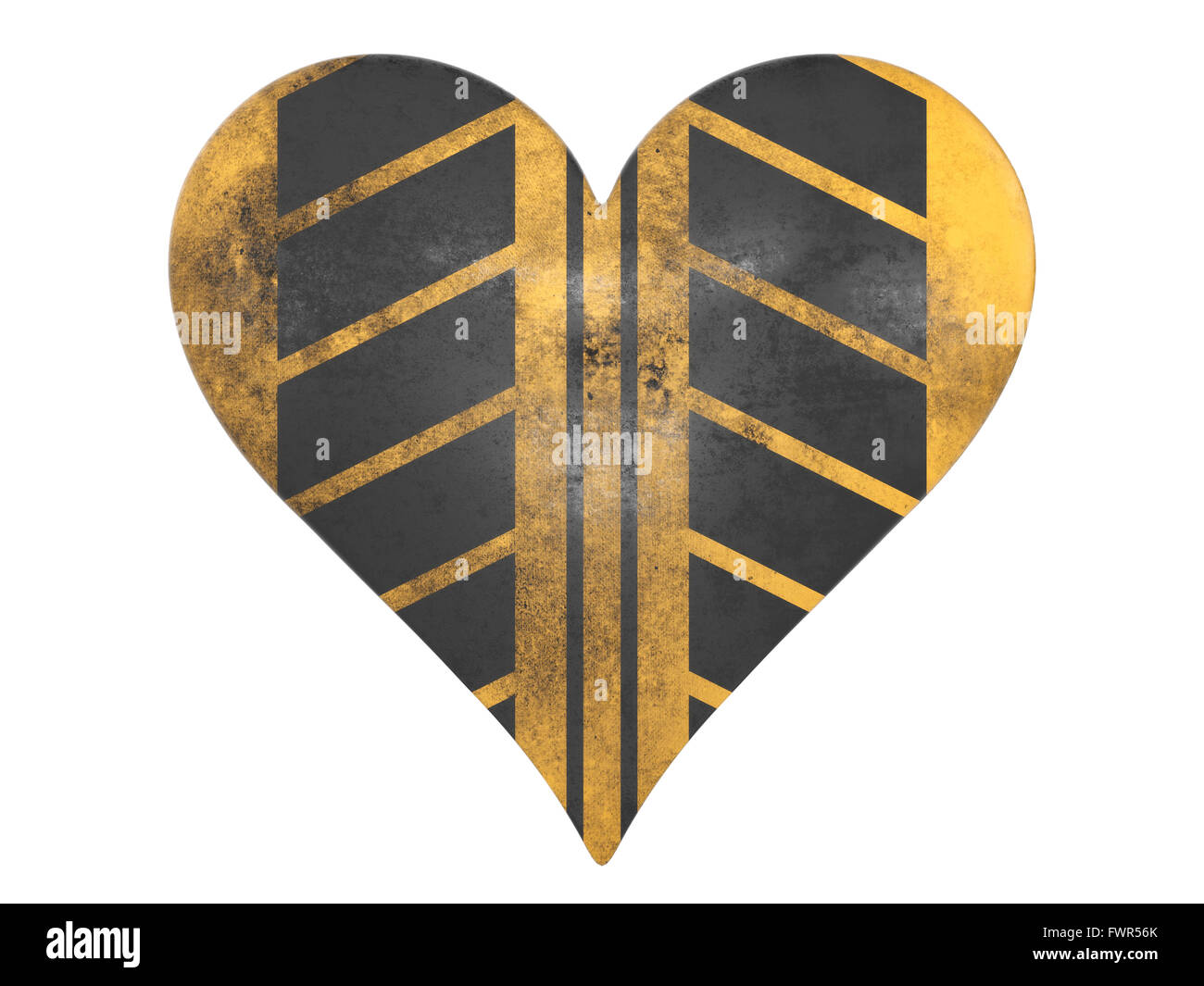 Construction colored tread marked heart symbol isolated on a white background. - Stock Image