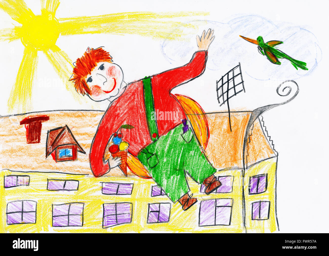 boy fly with airscrew on his back, child drawing object on paper, hand drawn art picture - Stock Image