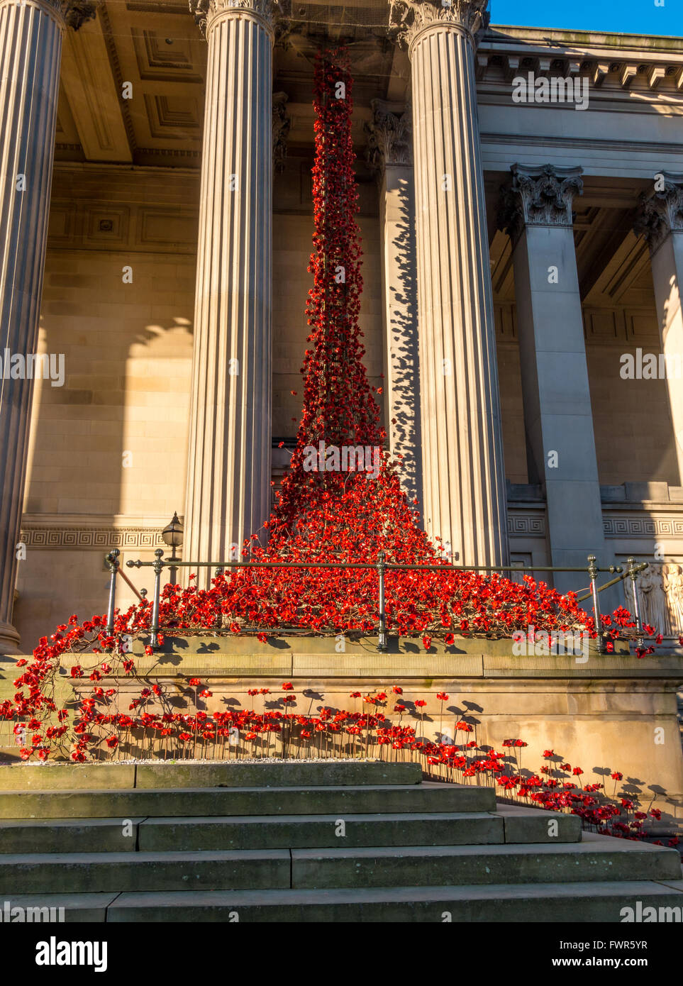 'Weeping Window' poppy installation at St.George's Hall, Liverpool - Stock Image