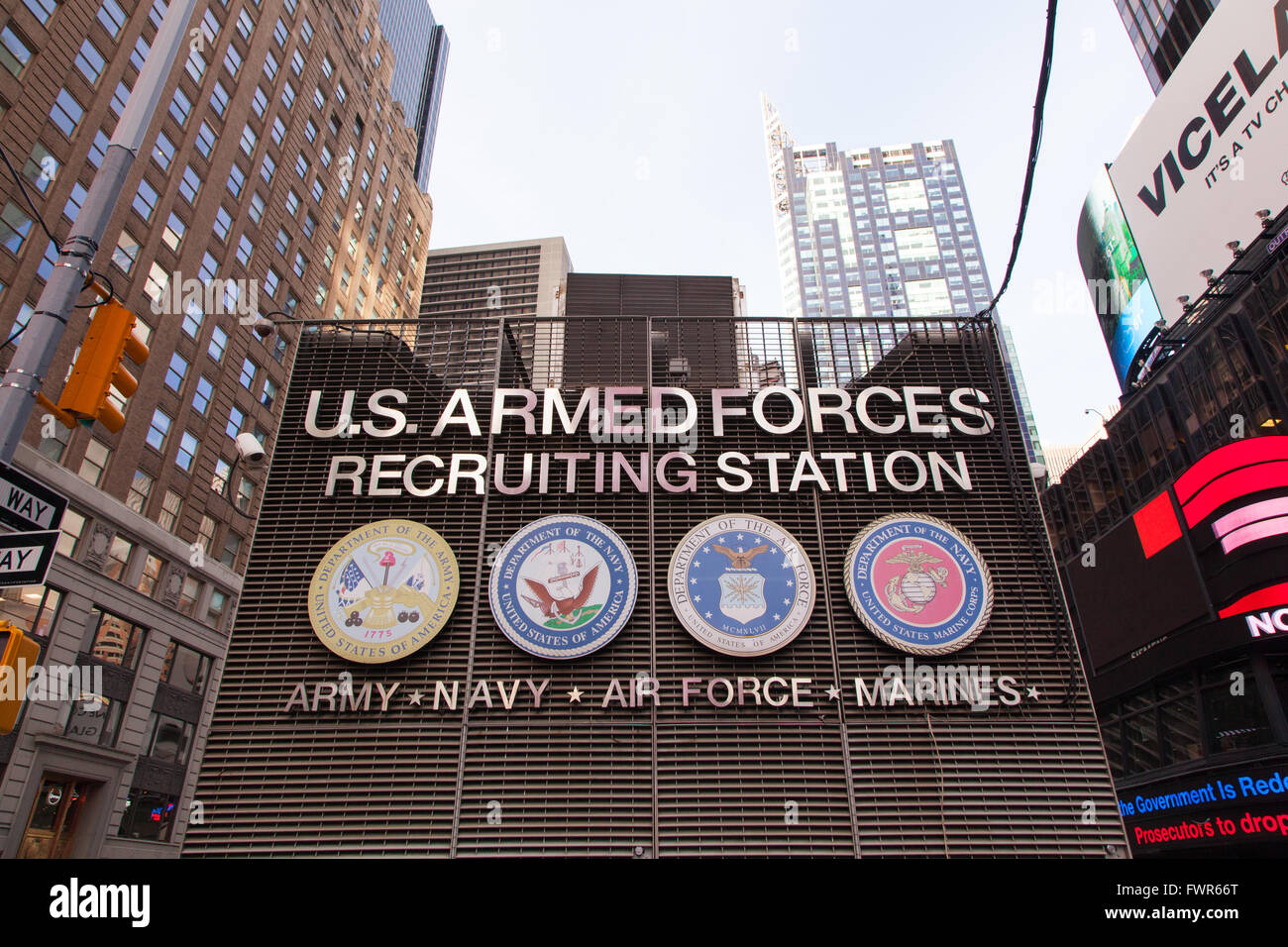 Army recruiting station, 43rd Street between Broadway and 7th Avenue in Time Square. New York,  United States of Stock Photo
