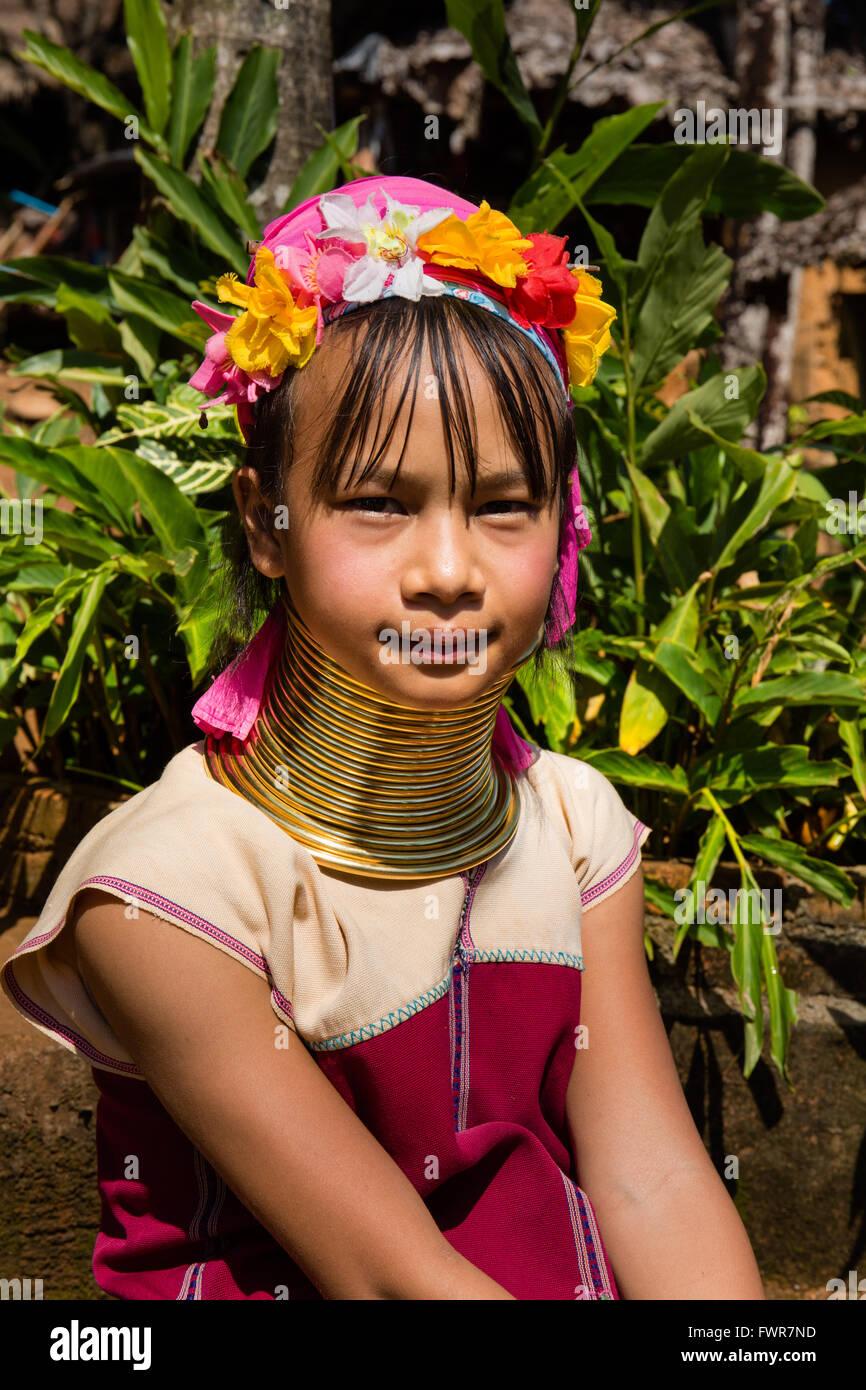 Girl from the Padaung hilltribe with neck rings, long-necked woman, Long Neck Karen, Chiang Rai Province, Northern - Stock Image
