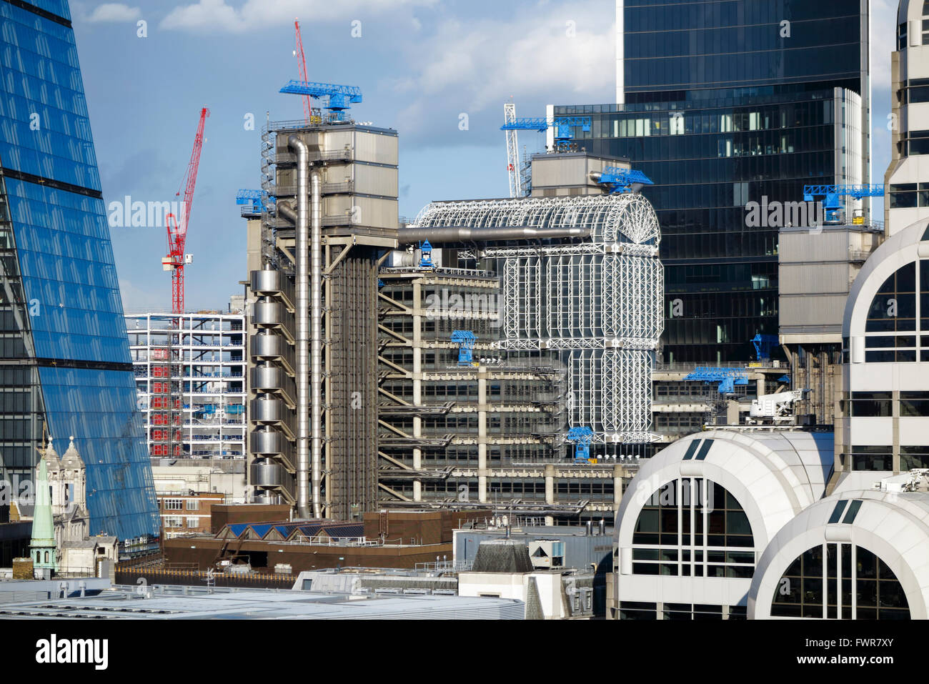 Sightseeing: iconic Lloyd's Building (or Inside-Out Building), home of Lloyd's of London, Lime Street EC3, City Stock Photo
