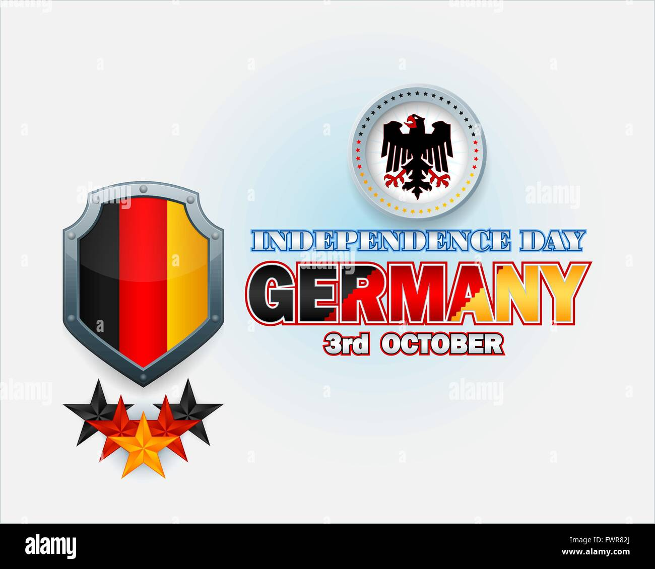 Independence Day design with shield in colors of the German flag, and German Eagle emblem for National Celebration - Stock Image