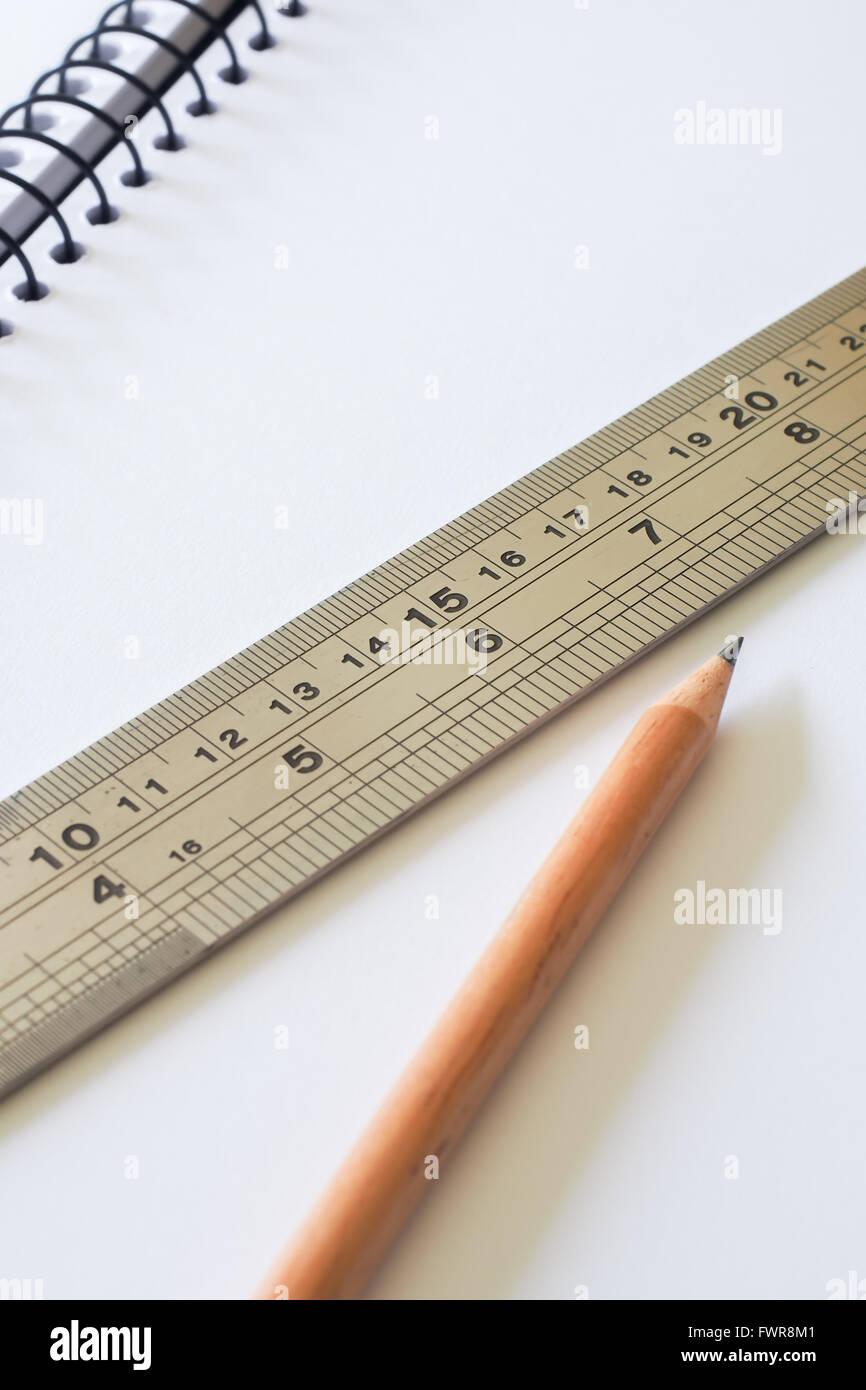 Ruler Paper Pencil 2 - Stock Image