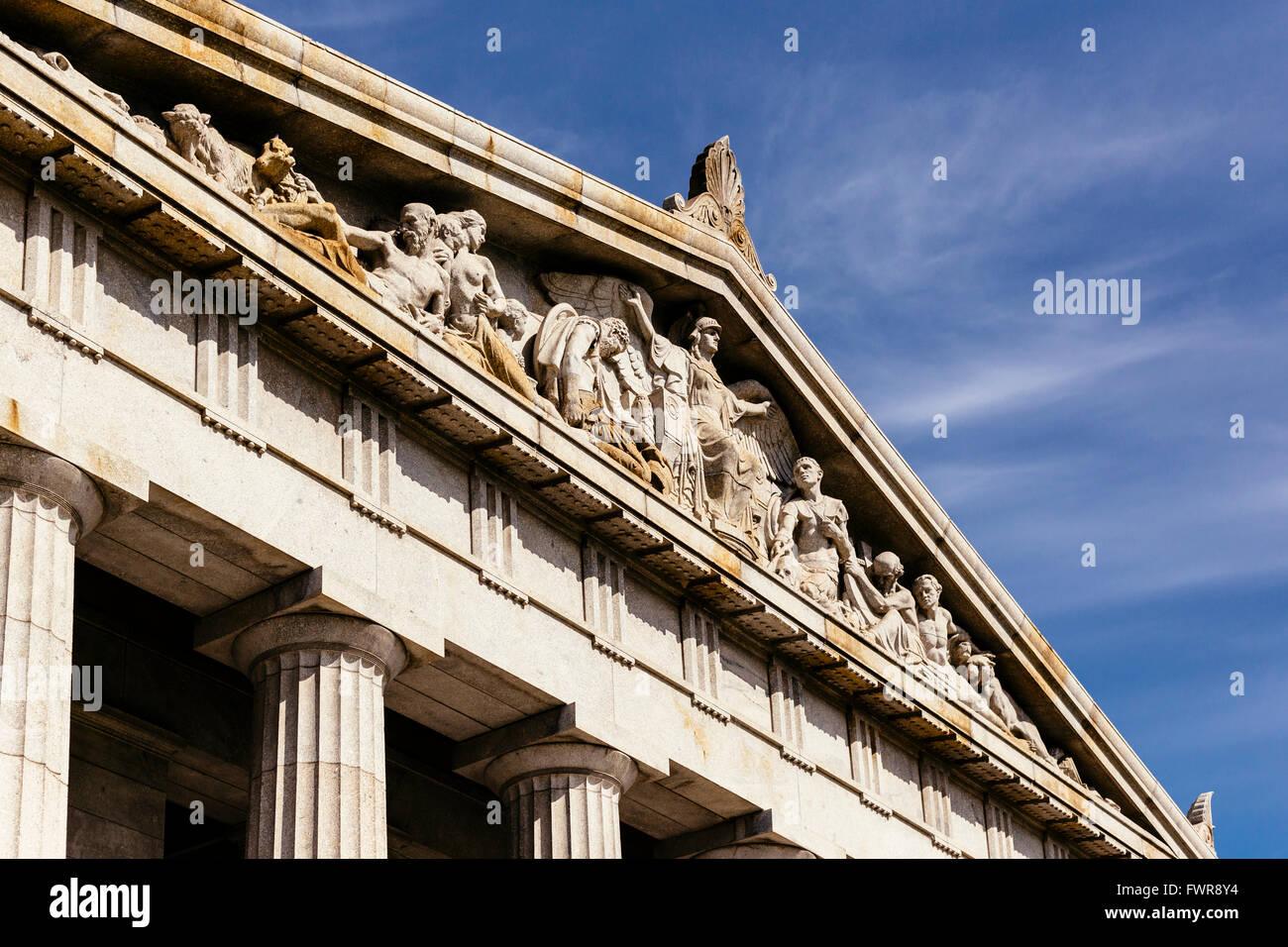 Portico, Shrine of Remembrance, Melbourne, Victoria, Australia - Stock Image