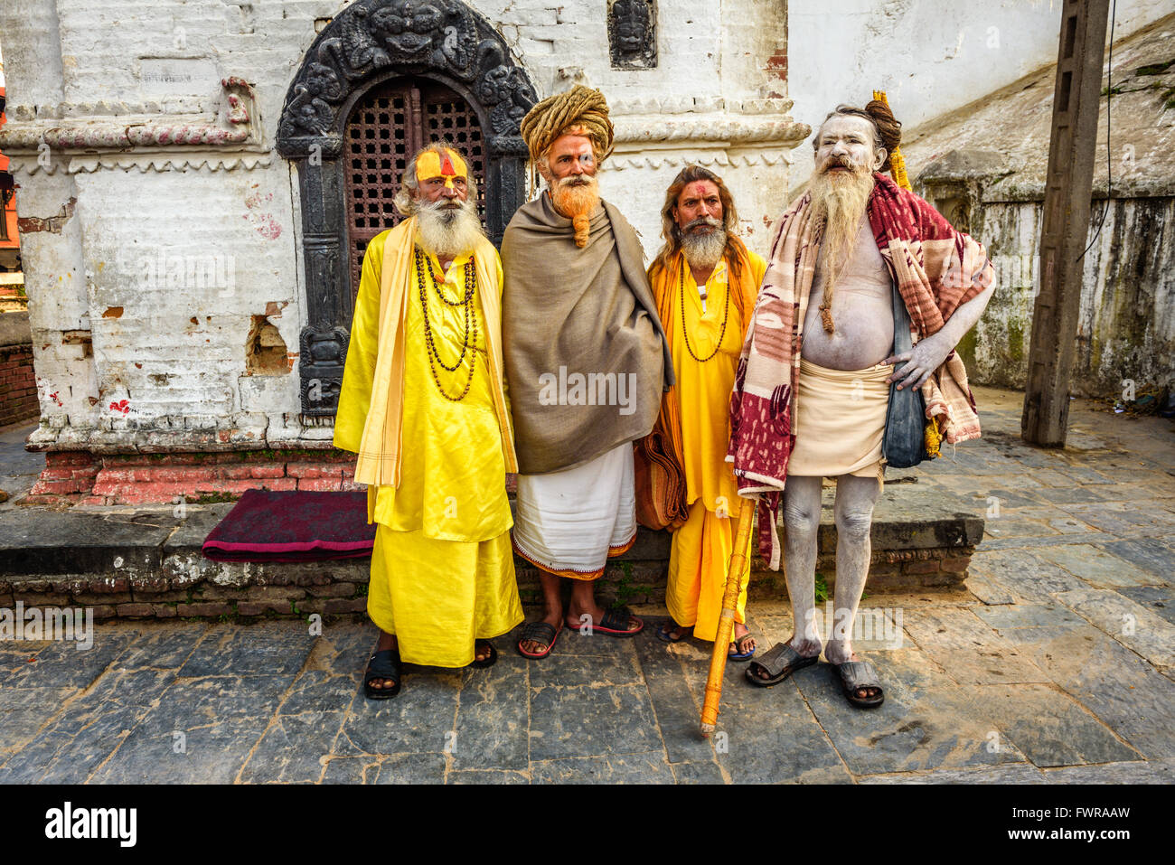 Wandering  Shaiva sadhus (holy men) with traditional long hair and beards in Nepal - Stock Image