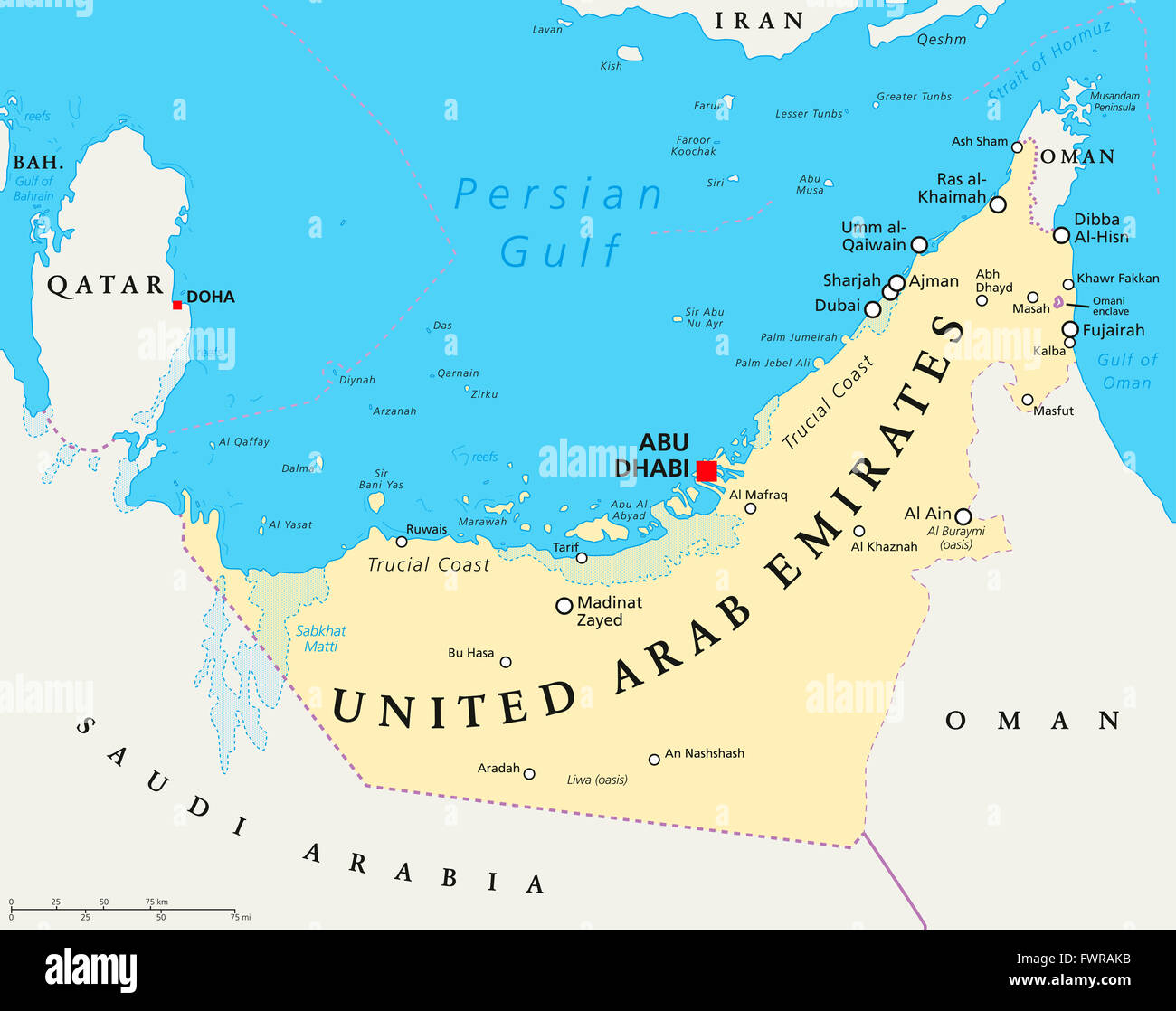 UAE United Arab Emirates political map with capital Abu Dhabi Stock