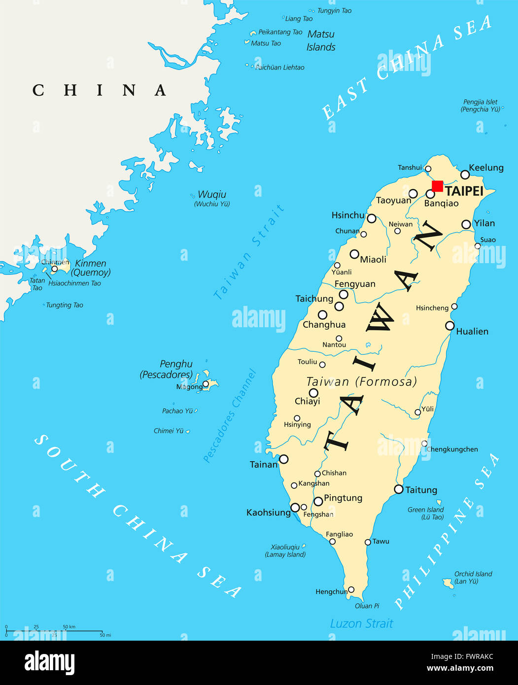Taiwan China Map.Taiwan Republic Of China Political Map With Capital Taipei Stock