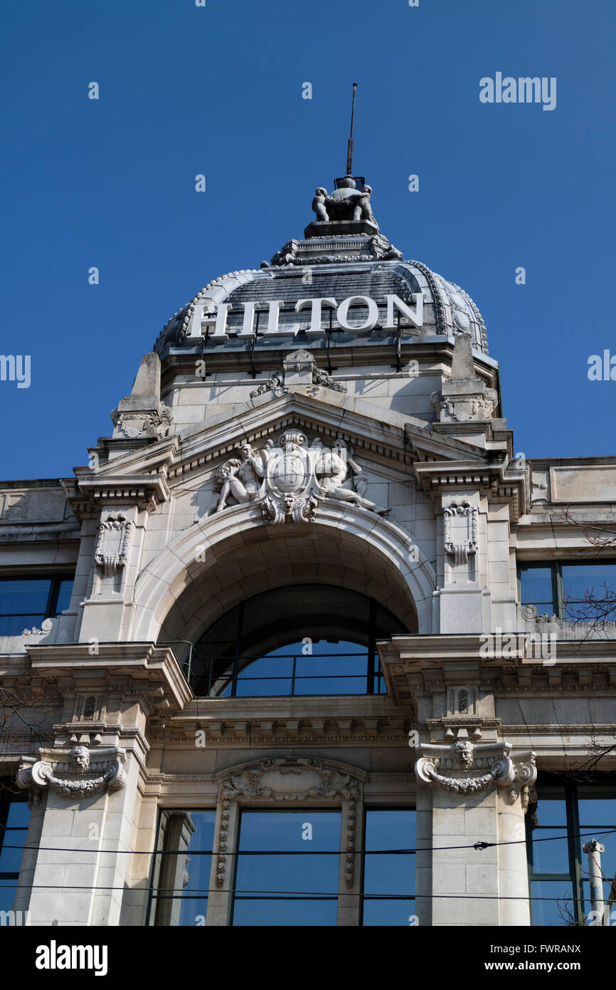 Facade of the Hilton hotel on the Groenplaats in Antwerp - Stock Image