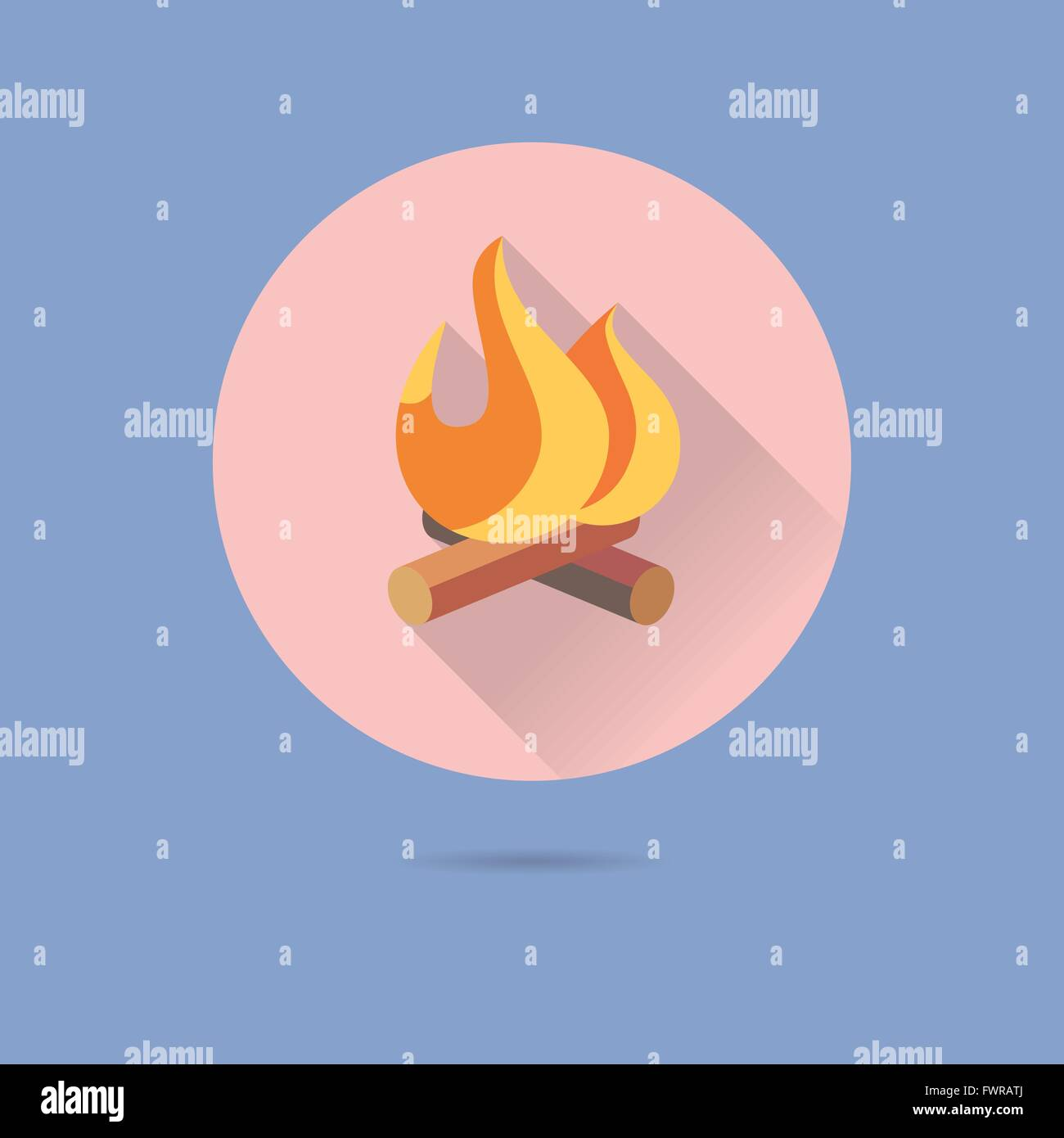 log fire flat design long shadow vector icon in circle on pastel blue background - Stock Image