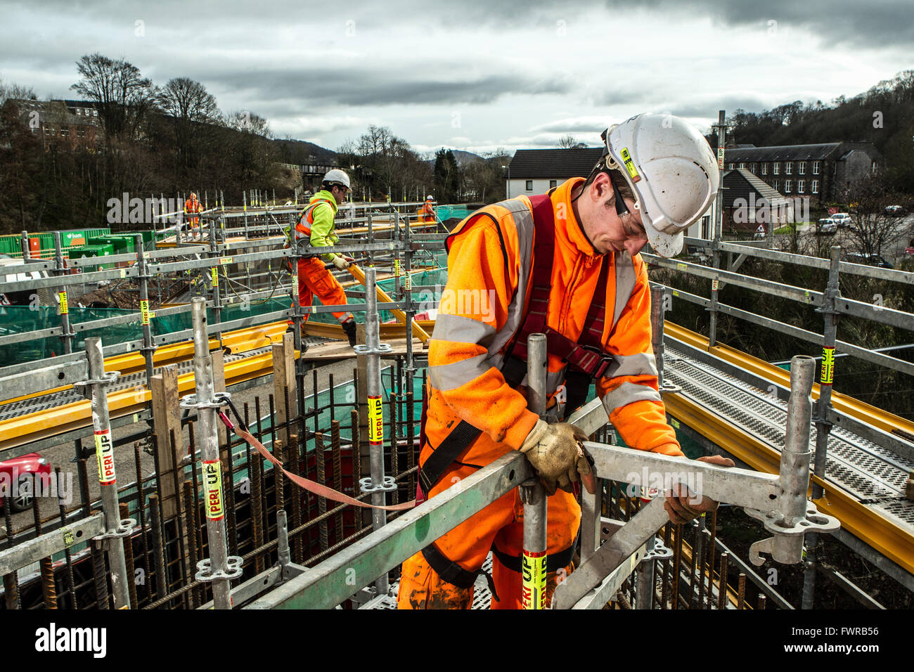 Construction workers at work during Borders Railway Construction - Stock Image