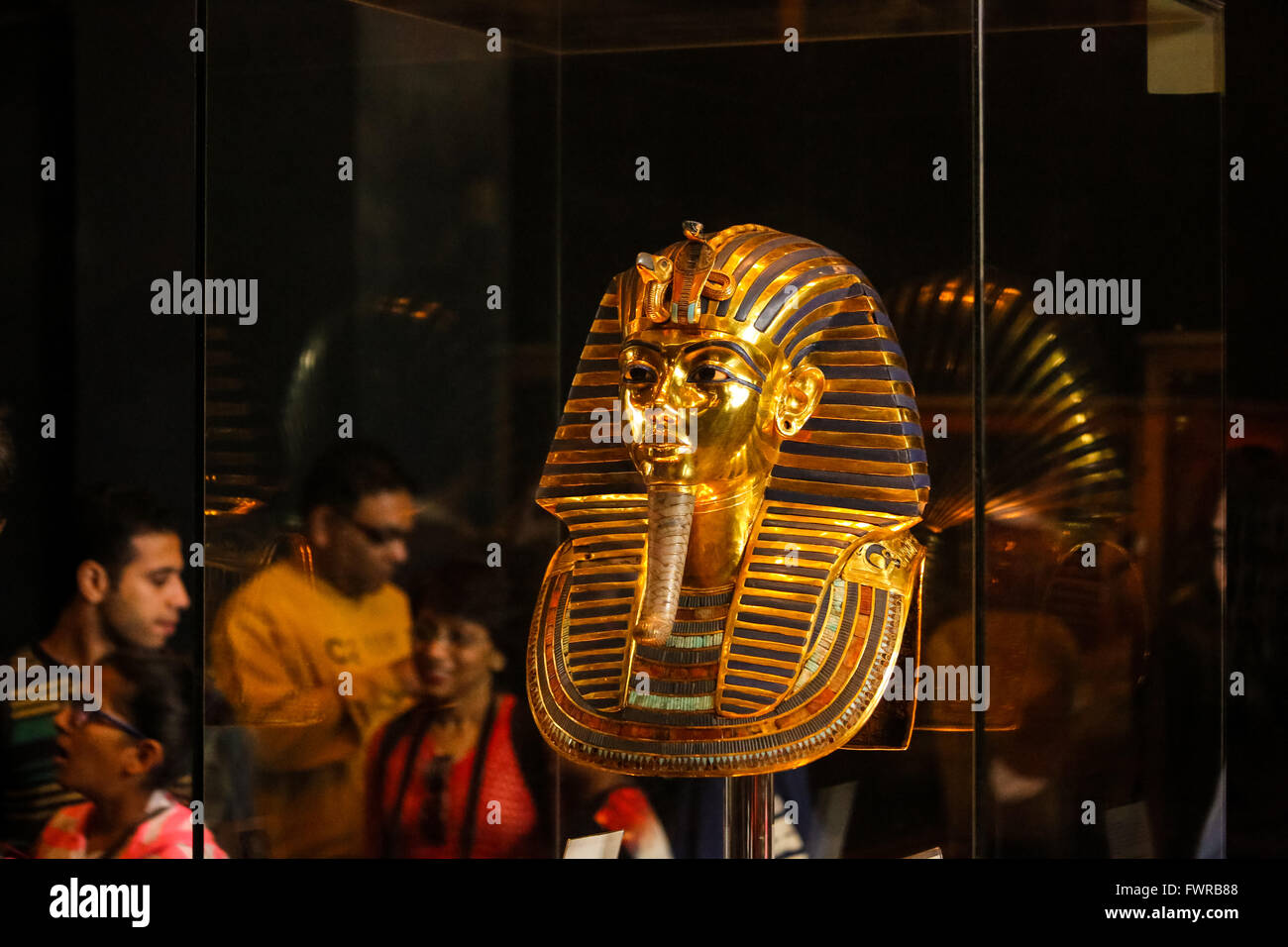 Death mask of Tutankhamen after repair the chain, Egyptian Museum Cairo Egypt - Stock Image