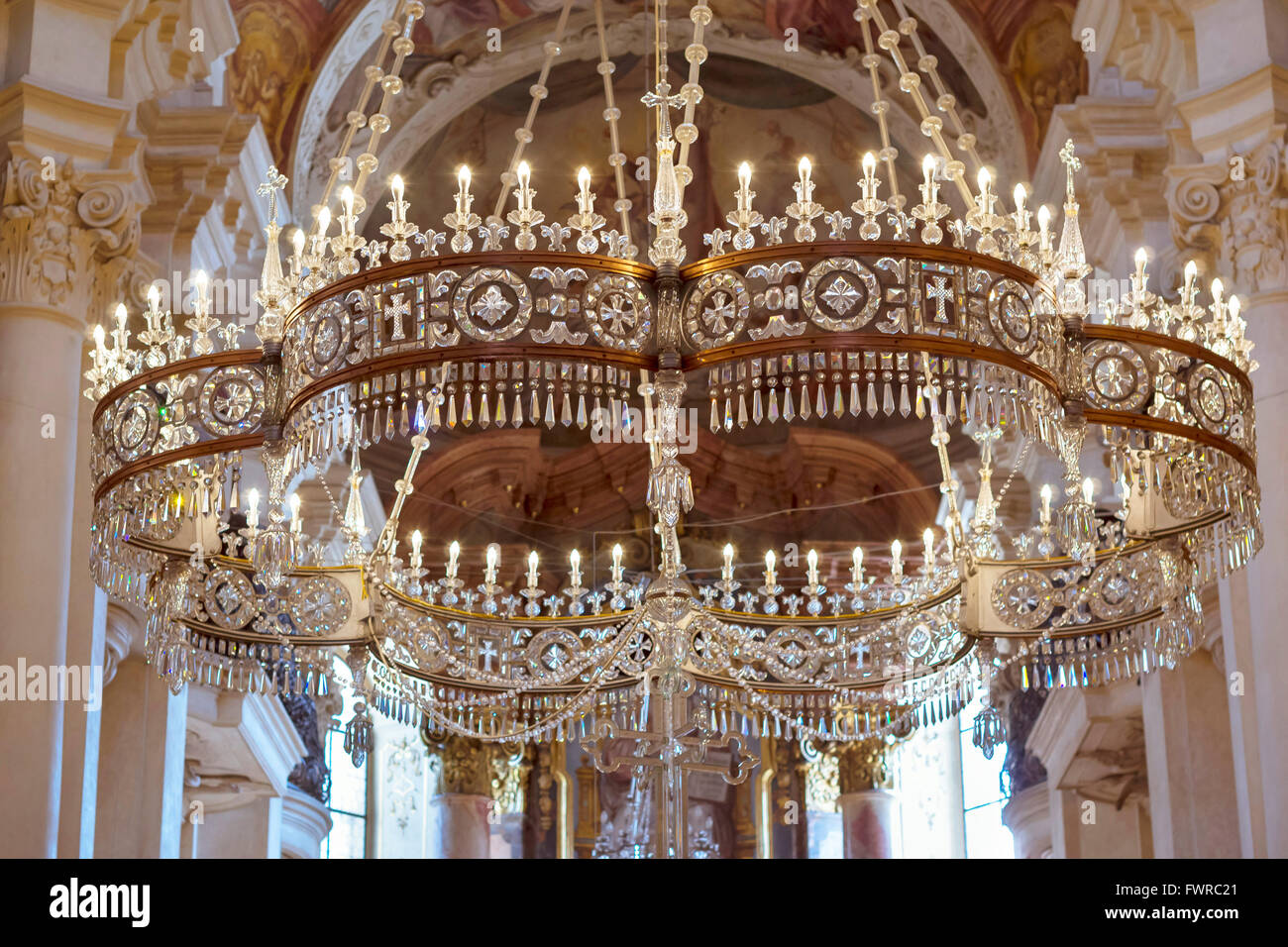 Prague czech republic august 27 2015 crystal chandelier with prague czech republic august 27 2015 crystal chandelier with candles in the cathedral of st nicholas aloadofball Image collections