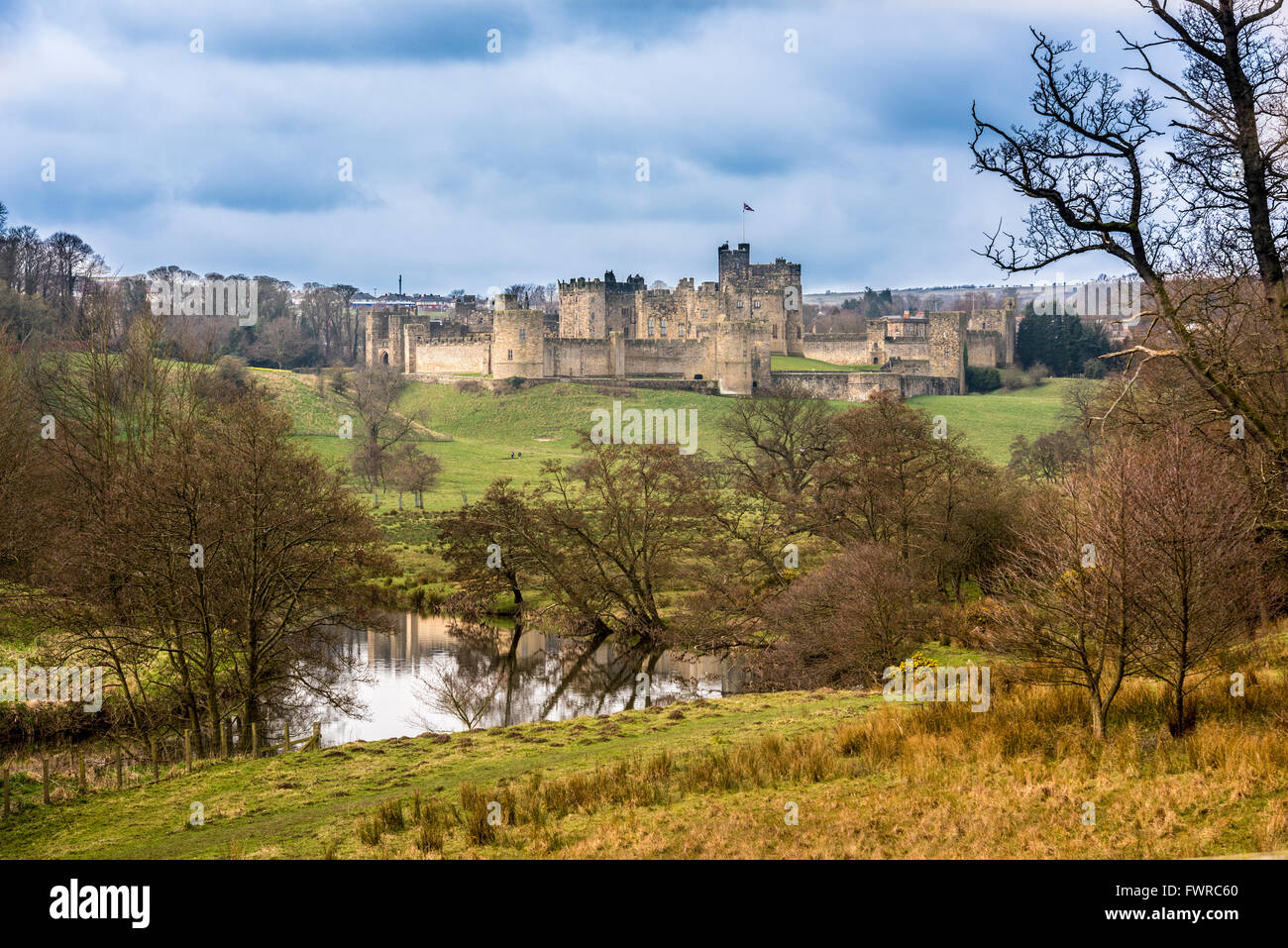 Alnwick Castle Northumberland. North East England. Seen in the Harry Potter films. - Stock Image