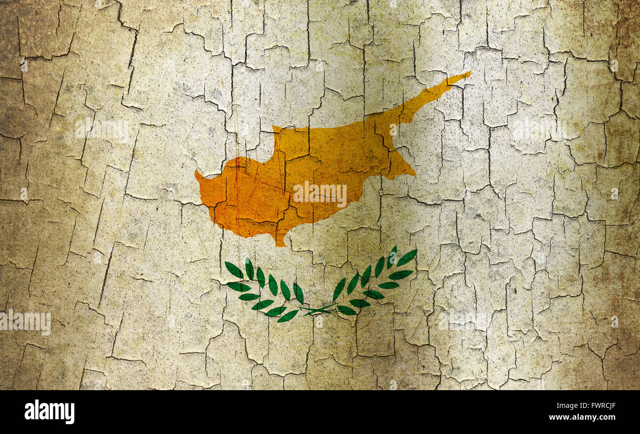 Cyprus flag on an old cracked wall - Stock Image