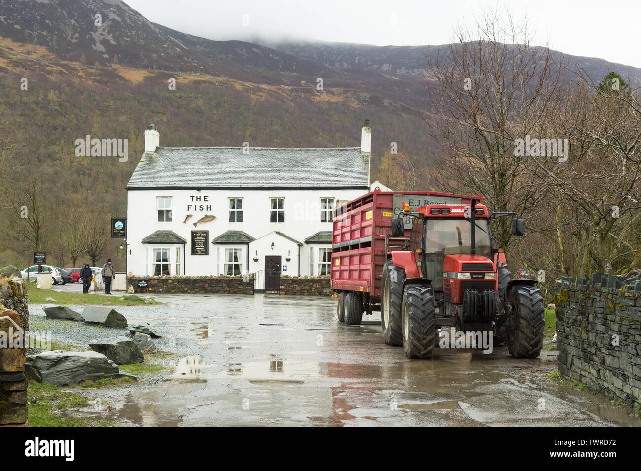 The Fish Inn, Buttermere, Lake District, Cumbria, England on a rainy day in spring - Stock Image