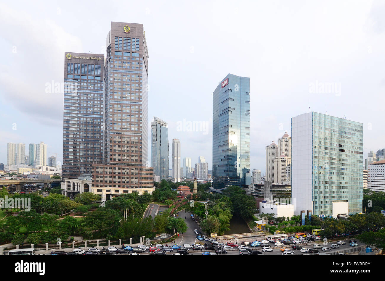 cityscapes view in Sudirman Street, Jakarta. A commercial and business area in the heart of central Jakarta. - Stock Image