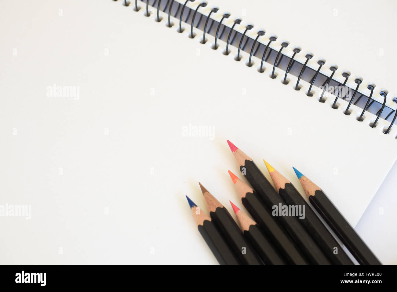 Sketch Pad and Colored Pencils - Stock Image