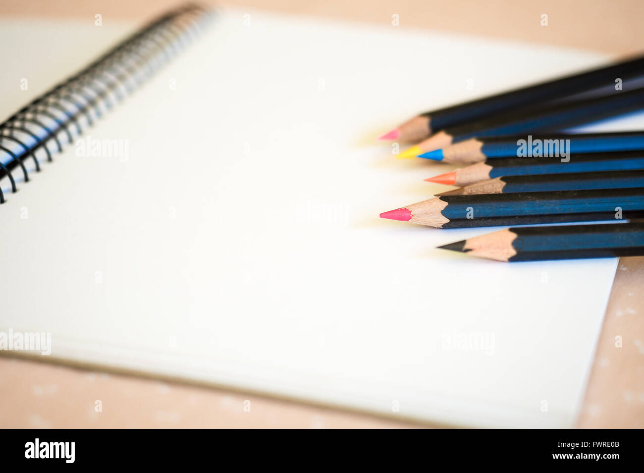 Sketch Pad with Colored Pencils - Stock Image