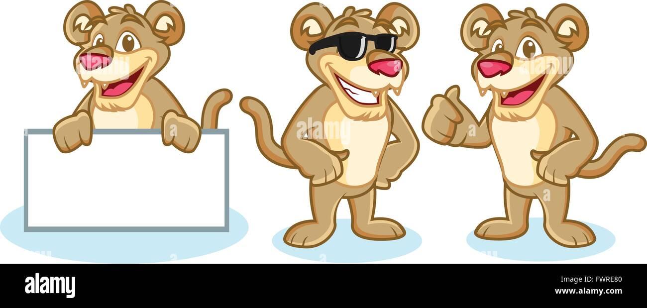 Puma Mascot Vector happy Stock Vector