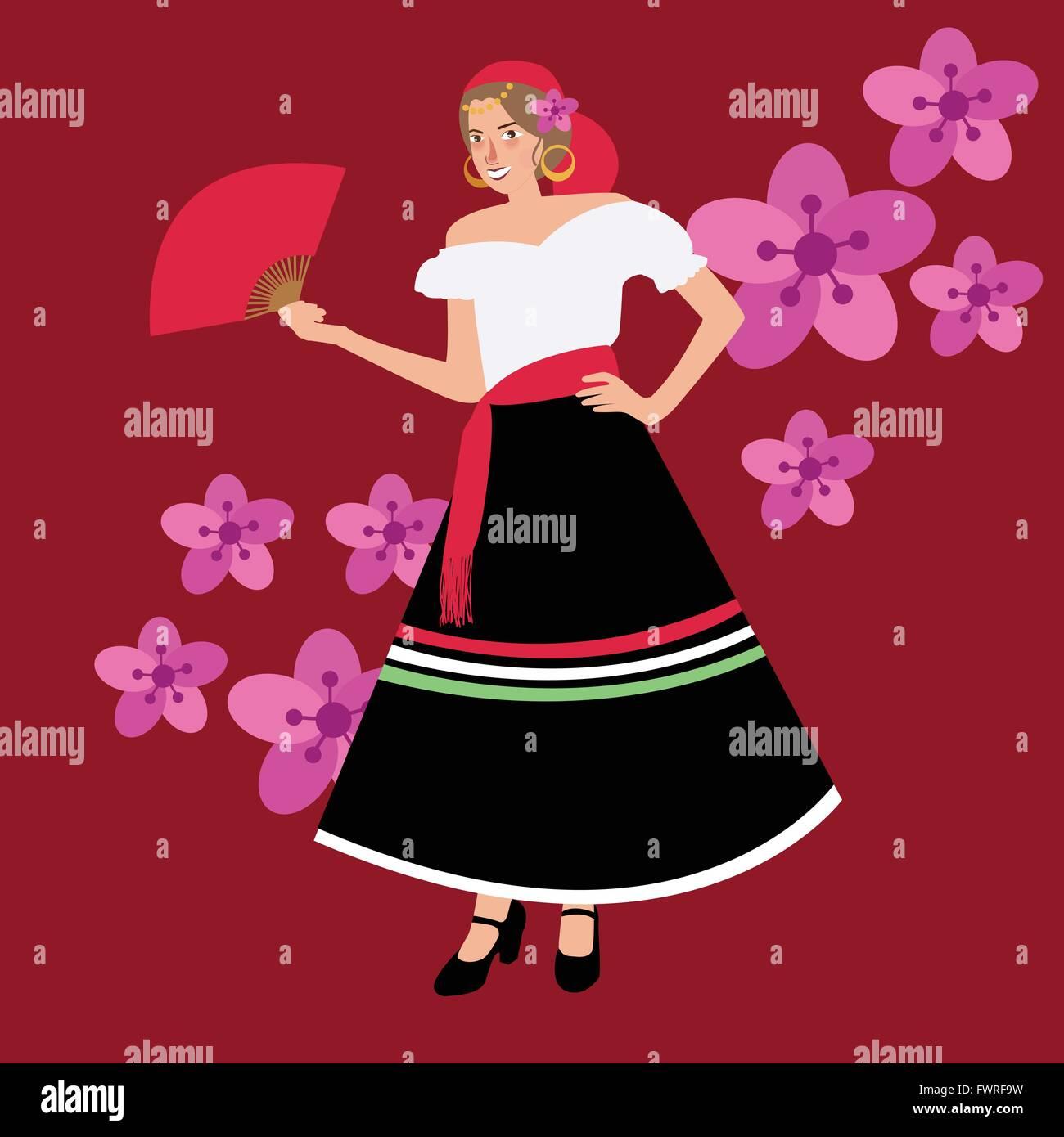 Traditional Spanish Spain Costume Iypsy Girl Woman Wearing Dress