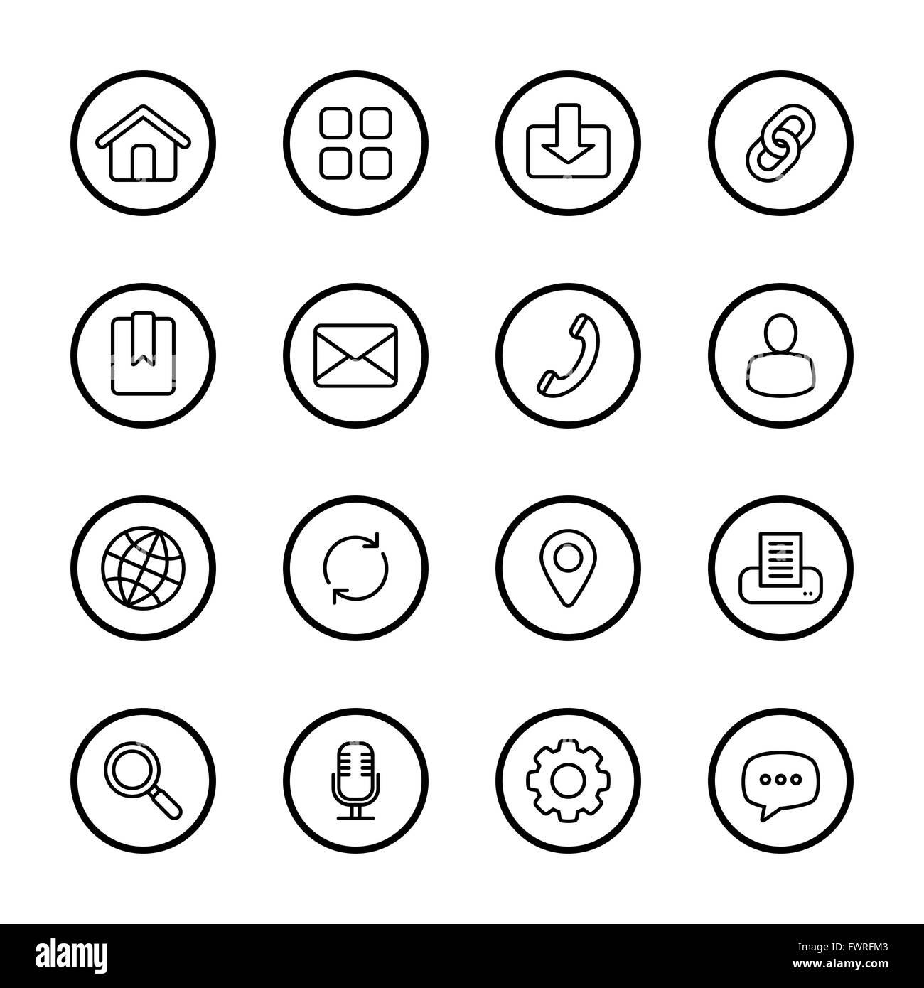 JPEG] black line web icon set with circle frame for web, UI Stock ...