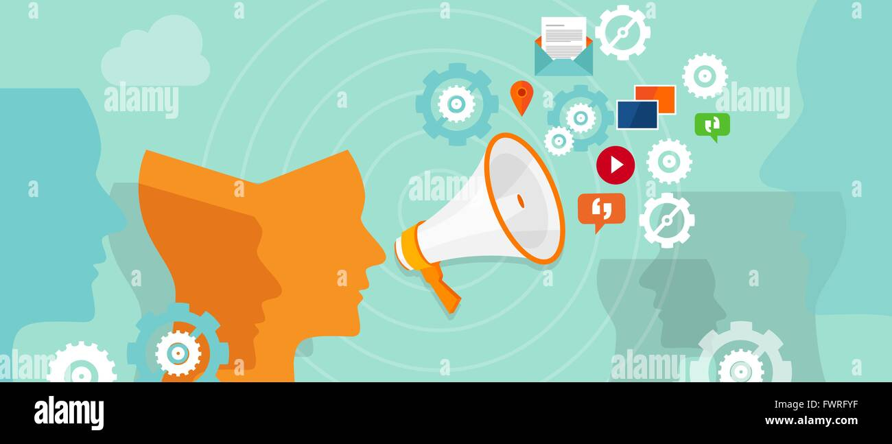 public relation buzzer promotion spreading media - Stock Image
