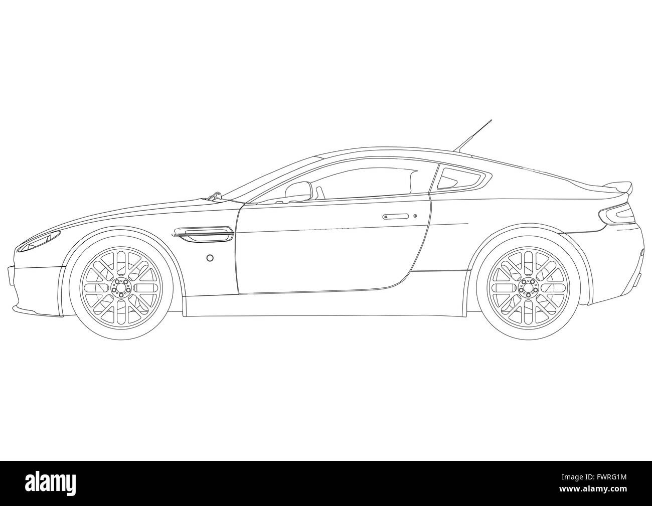 Line Drawing Of Aston Martin Sports Car From The Side Stock Photo Alamy