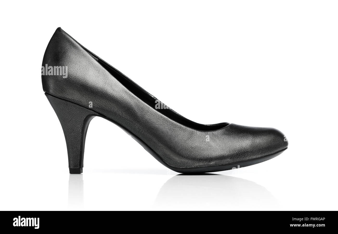 Ladies dark grey pump shoe isolated on white with reflection. - Stock Image
