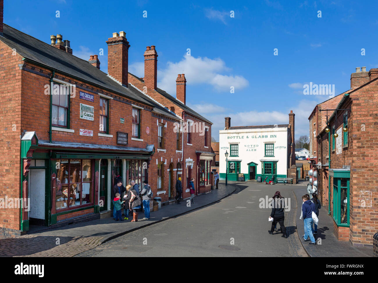 Old shops in the village centre, Black Country Living Museum, Dudley, West Midlands, UK - Stock Image