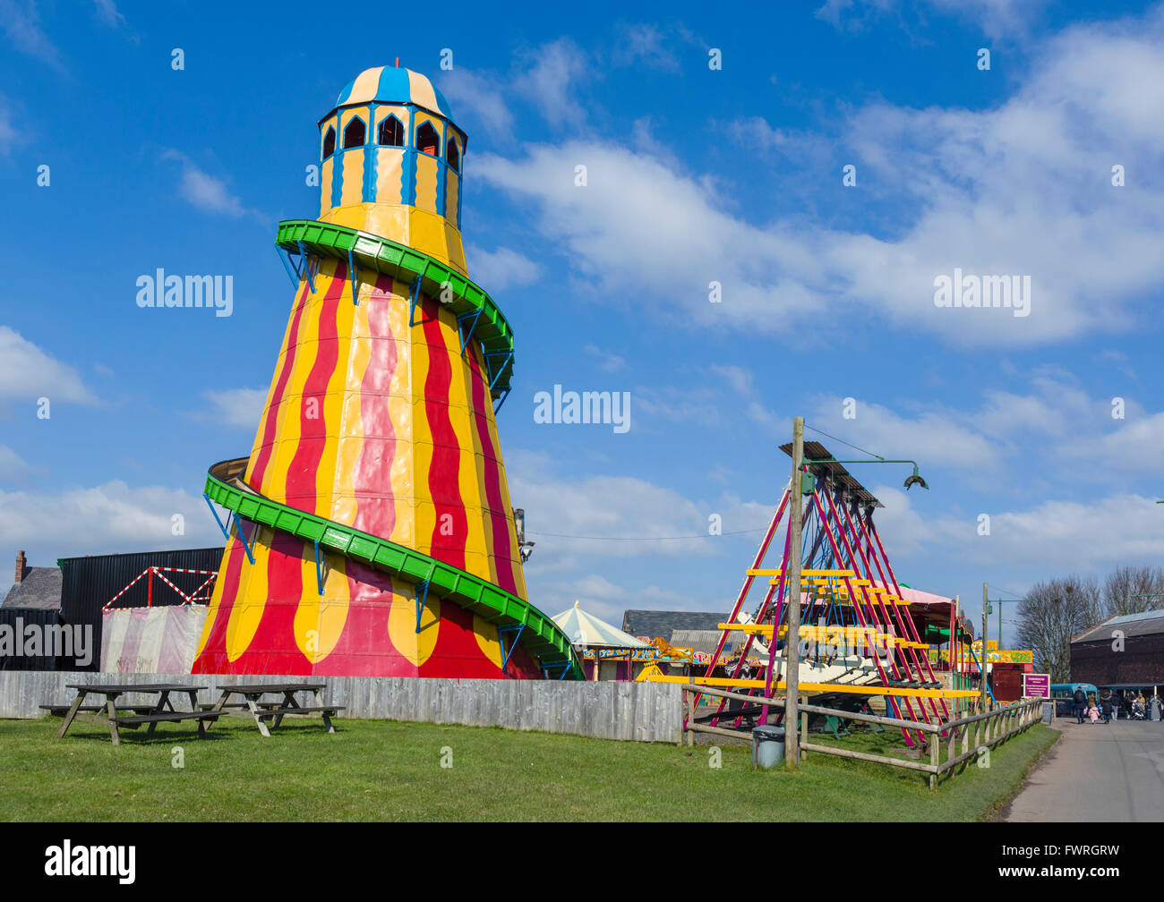 Old Helter Skelter in the 1930s Fairground, Black Country Living Museum, Dudley, West Midlands, UK - Stock Image