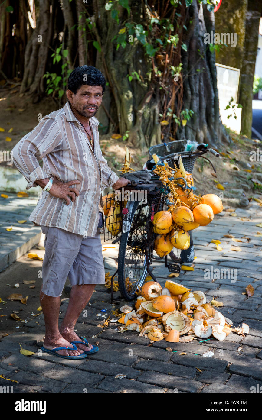 coconut vendor in Fort Galle, Sri Lanka, Asia Stock Photo