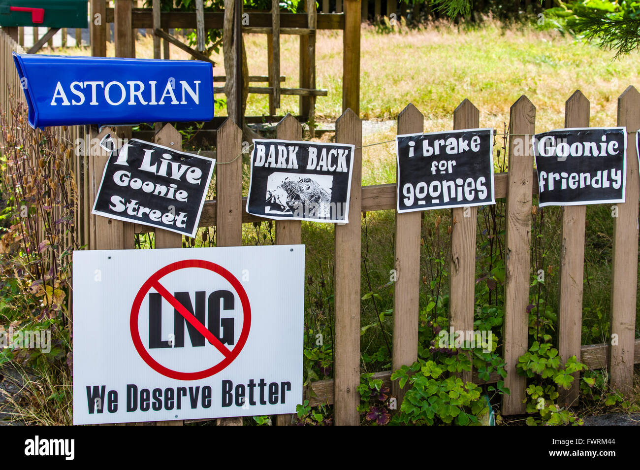 Signs Near The Goonies House In Astoria, Oregon. Parking And Crowds Have  Become A Problem During The 30th Anniversary Of The Movie.