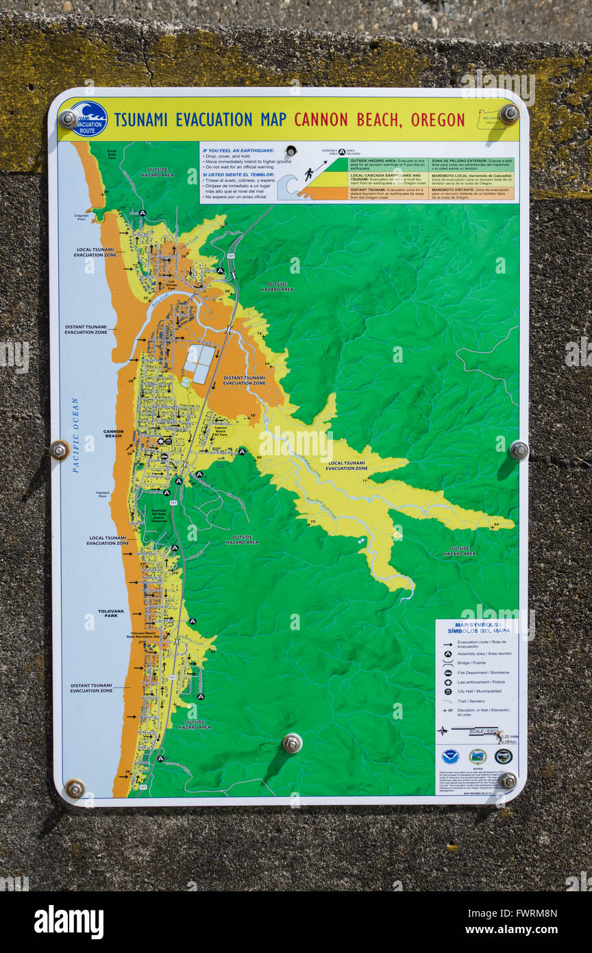 Tsunami evacuation map for Cannon Beach, Oregon Stock Photo ... on