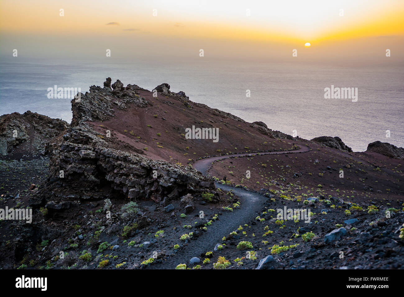 Footpaths near the Teneguía volcano. Fuencaliente de la Palma, La Palma, Tenerife, Canary Islands, Spain - Stock Image