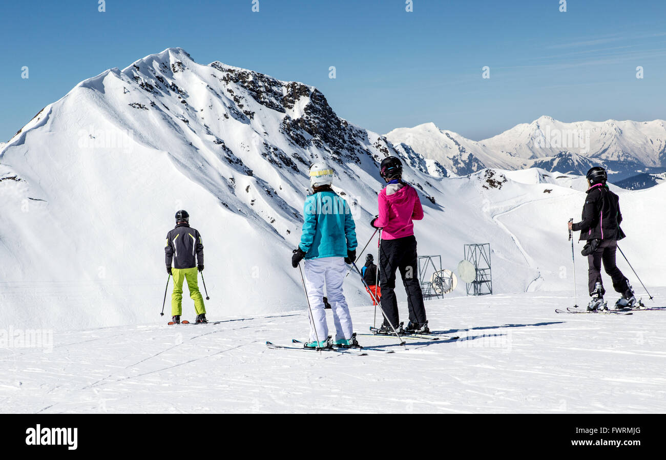 Skiers on the Piste La Plagne France - Stock Image