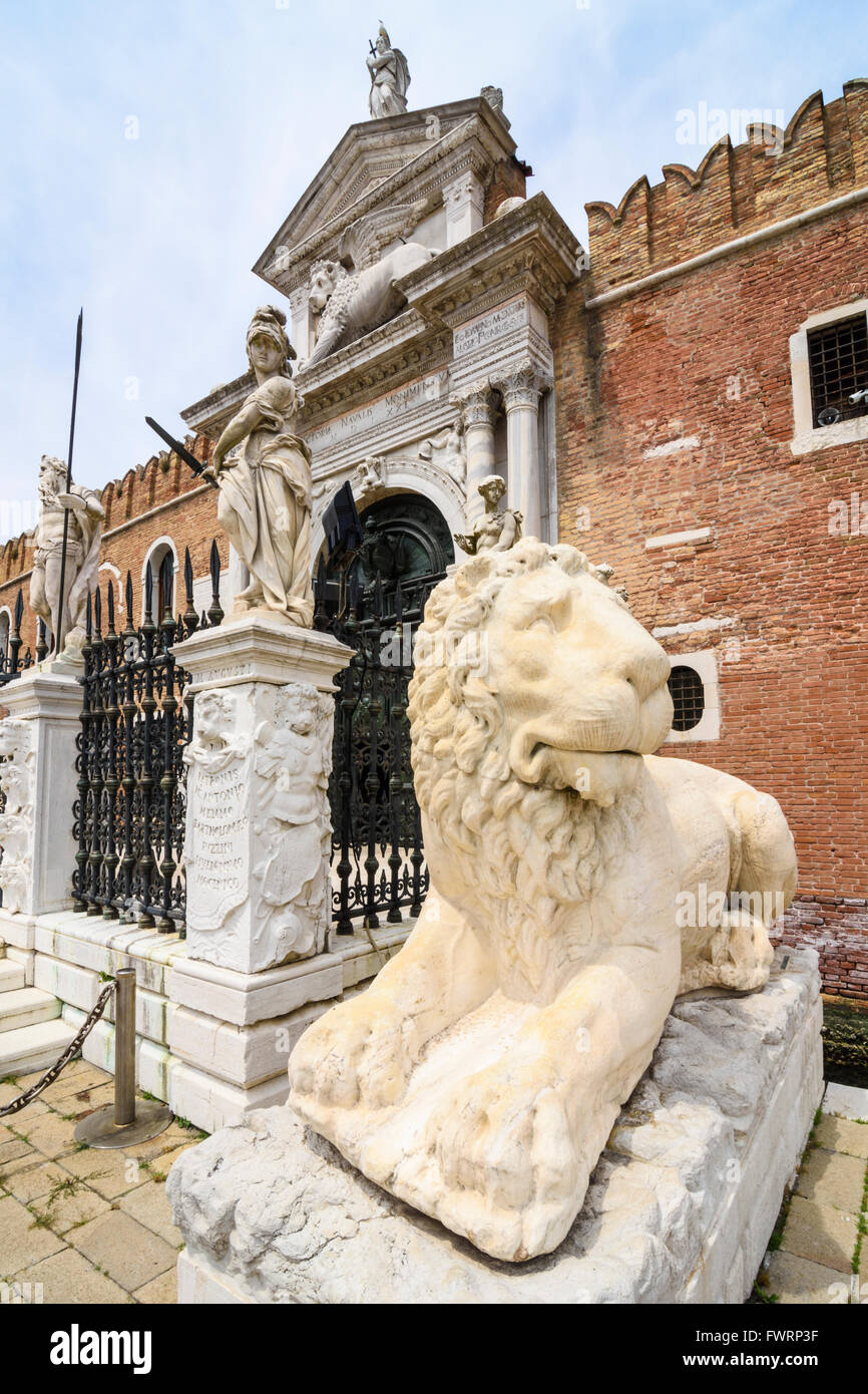 Detail around the main gate of the Venetian Arsenal, Castello, Venice, Italy - Stock Image