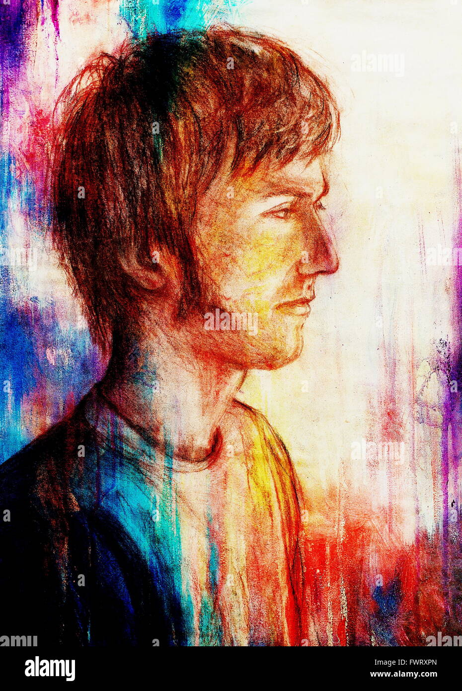 Art Drawing Man Face And Abstract Color Background Stock