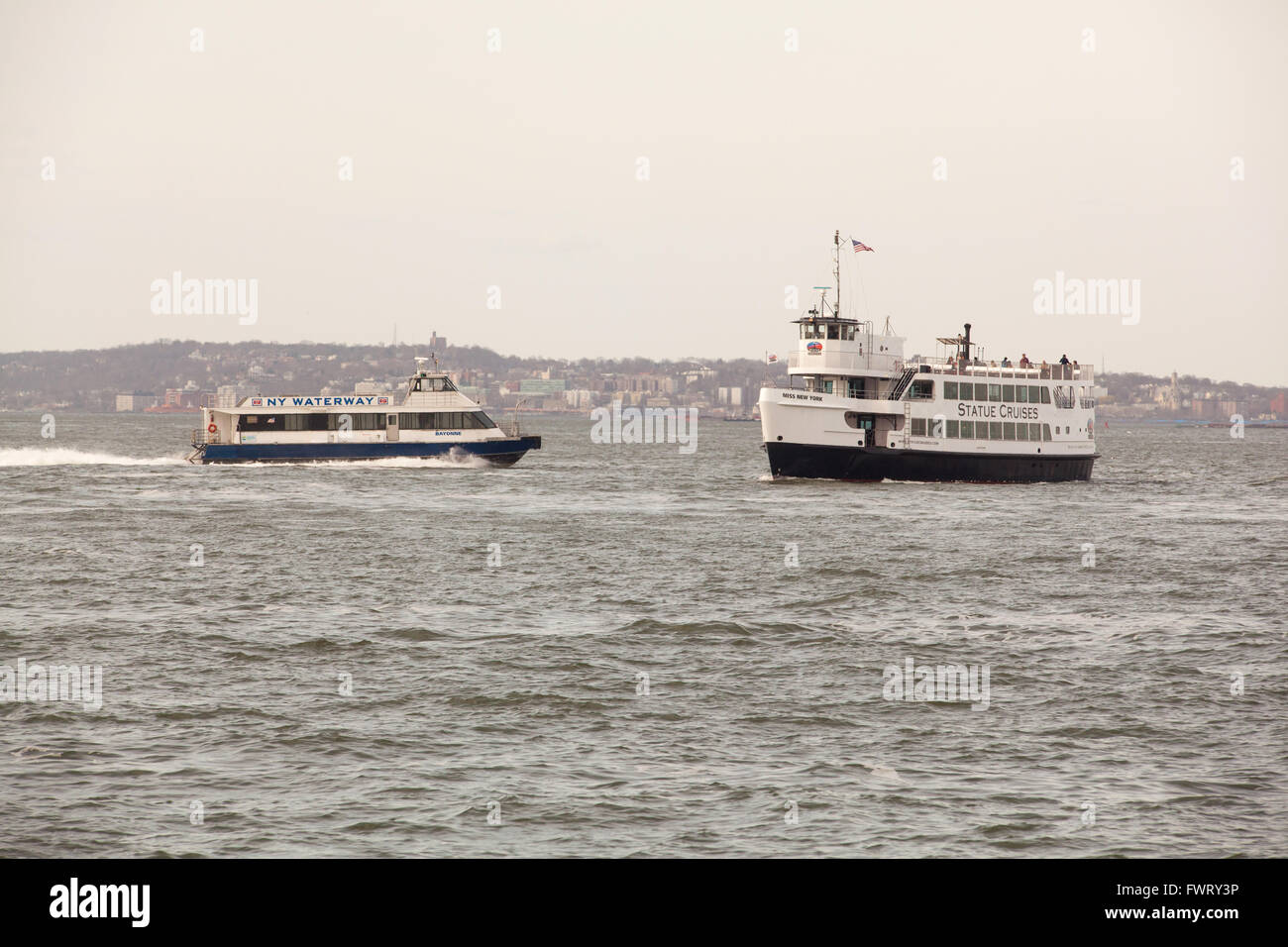 Statue Cruises Ferry Boat On Hudson River Taking Tourists To