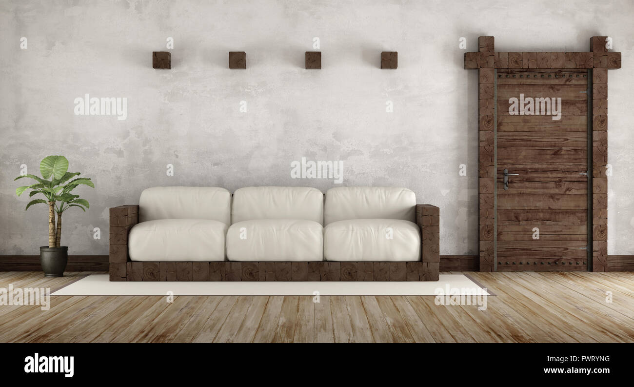 Living room in rustic style with wooden couch and old wooden door ...